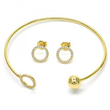 Gold Layered 13.199.0005 Set Bangle, Ball Design, with White Crystal, Polished Finish, Golden Tone (02 MM Thickness, One size fits all)