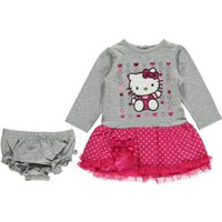Hello Kitty Baby Baby-Girls Newborn Grey 2 Piece Dress Set, Grey/Fuchsia, 3-6 Months