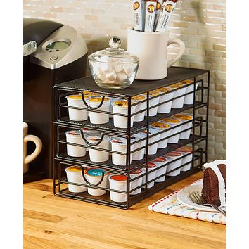 Red,Black,Bronze Large Kitchen Countertop Coffee or Tea Pod Storage Drawer Organizer
