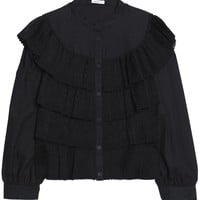 Ruffled tiered lace and textured-cotton blouse   VILSHENKO   Sale up to 70% off   THE OUTNET