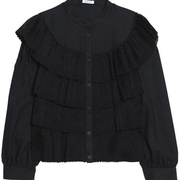 Ruffled tiered lace and textured-cotton blouse | VILSHENKO | Sale up to 70% off | THE OUTNET
