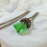 "Wire Wrapped Green Sea Glass Necklace ""Jasmine"""