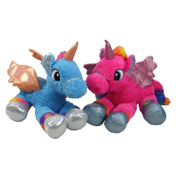 Set of 2 Super Soft and Plush Pink and Blue Sitting Winged Unicorns Stuffed Animal Figures 23.5""