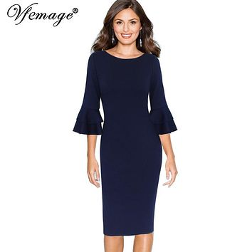 Vfemage Knee Length Formal Dresses for Women in ¾ Sleeves