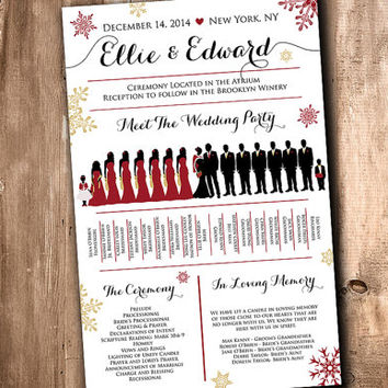 Winter Wedding Silhouette Program Wedding Party Silhouette Snowflake Program Meet the Bridal Party Silhouette Wedding Program Fan Printable