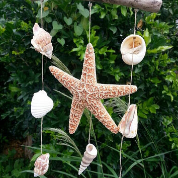 Starfish Seashell Wind Chime Wall Hanging
