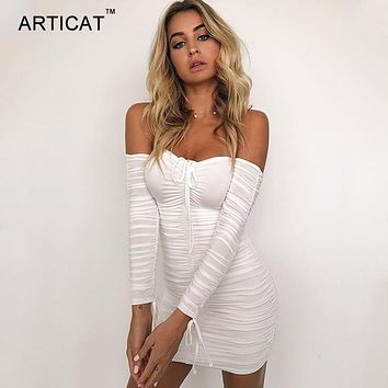 Articat  Women Autumn Winter Bandage Dress Women 2017 Sexy Off Shoulder Long Sleeve Slim  Elastic Bodycon Party Dresses Vestidos
