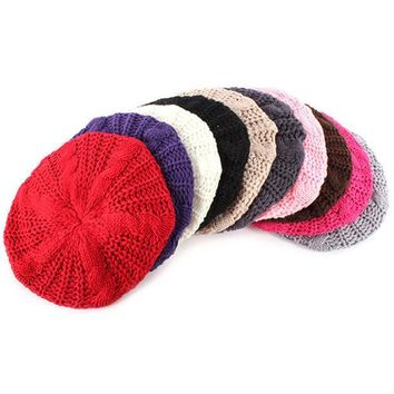 CREYL Multi Color Women Braided Baggy Beanie Beret Crochet Knitted Hat Warm Winter Cap