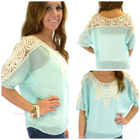 Calloway Crochet Sleeve Mint Top