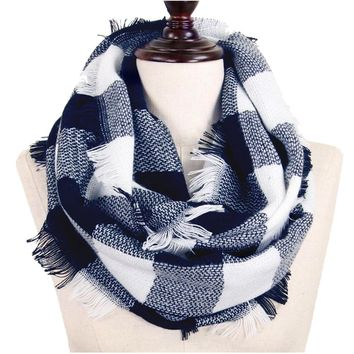 Navy and White Buffalo Plaid Woven Infinity Scarf