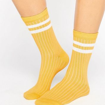 ASOS Stripe Ribbed Ankle Socks at asos.com