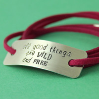 Personalized Quote Bracelet - Sterling Silver and Faux Suede Wrap Bracelet
