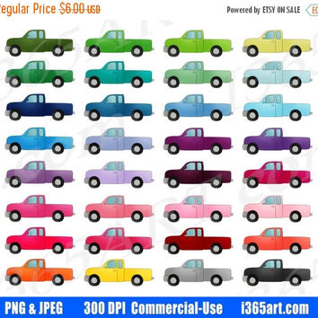 50% OFF Sale Pickup Truck Clipart, Tow Truck Clip Art, Automobile, Printable Planner Sticker Graphics, Scrapbooking, PNG, Commercial