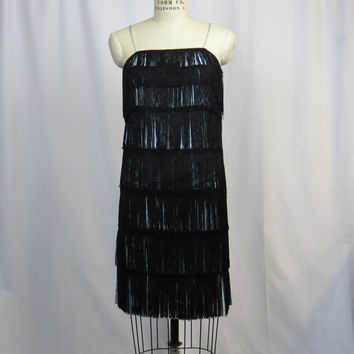 Vintage 20s Inspired Flapper Dress. Seafoam Green Lining with Black Fringe.