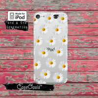 White Daisy Flower Pattern Tumblr Inspired Floral Wanelo for Clear Transparent Rubber iPod Touch 5th Generation Case 5th Gen Cover
