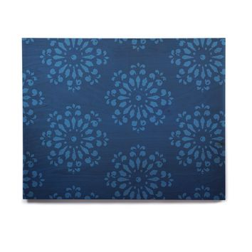 "Gukuuki ""Blue Taylor"" Navy Damask Birchwood Wall Art"