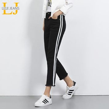 2018 LEIJIJEANS Autumn Plus Size Mid Waist Ankle Length Black And White Side Stripe Panelled Casual Women Skinny Straight Jeans
