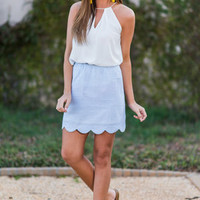 Preppy Perfection Skirt, Baby Blue