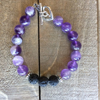 ADD/ADHD Essential Oils Diffuser Bracelet - Black Lava Stone- Purple Amethyst