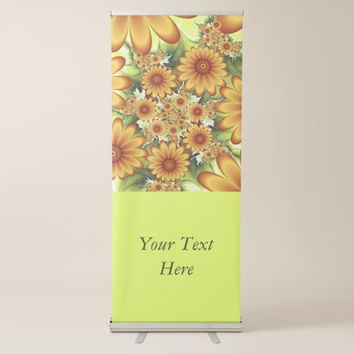 Floral Dream, Modern Abstract Flower Fractal Text Retractable Banner