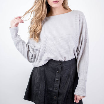 Grey Relaxed Thermal Knit Top