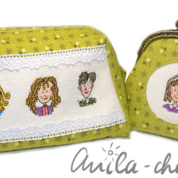 "Hand-embroidered cross stitch face green floral cosmetic bag ""Pretty woman"""