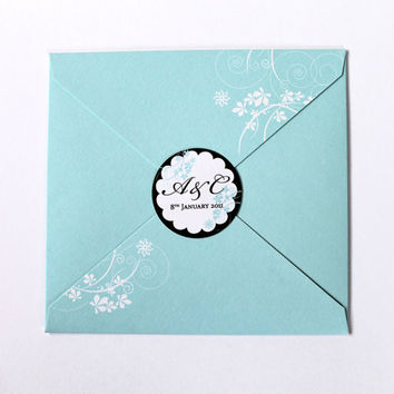 Mint Blue Wedding Invitation with flowers - Handmade - With RSVP Cards - Greek Wedding Invitations