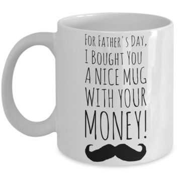 Father's Day Morning Coffee Mug - Funny Sayings & Quotes Dad Gift for Him - Hot Cocoa, Milk, Cookies, Candy & Pencil Cup for Men & Dads