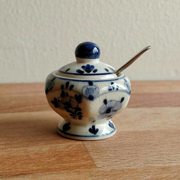 Delft Vintage Small Salt Jar with Spoon Crackle Glaze Handpainted Delft Blue Holland Delft Pottery