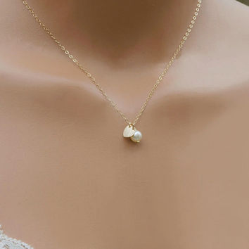 Dainty Heart Necklace / Personalized Necklace / Initial Necklace / Gold Heart Necklace / Silver Heart Necklace / Valentine Gift