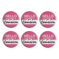 Cameron Hello My Name Is Plastic Resin Button Set of 6