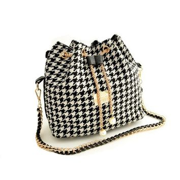 Houndstooth Satchel Handbag