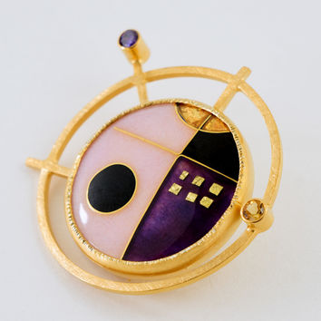 Cloisonne Enamel & Gemset Pin/Pendant by Jan Van Diver (Enameled Brooch) | Artful Home