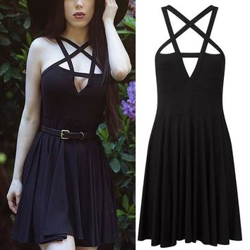 Summer Fashion Women Skirt Gothic Vintage Romantic Beach Party Skirt Without Belt Sexy Black Pleated Skirt XXL DP816758