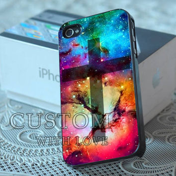 Cross With Galaxy Nebula - Rubber or Plastic Print Custom - iPhone 4/4s, 5 - Samsung S3 i9300, S4 i9500 - iPod 4, 5