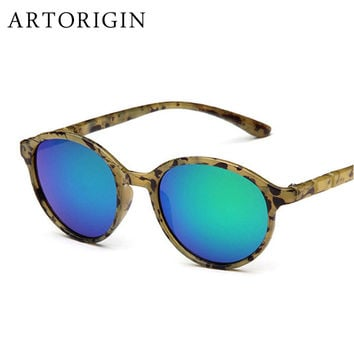 Low Price Women Sunglasses Oval Glasses Frame Colorful Mirrored Lens Oculos De Sol Feminino AO3004
