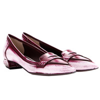 Fendi New Burgundy Andrea Leather Loafers