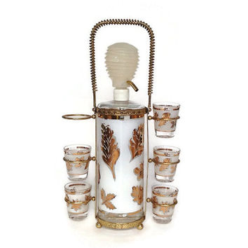 Ardon Liquor Decanter-Shot Glasses-Gold Leaf-Frosted Glass-Gold Metal Caddy-5 Shot Glasses-Mid Century Barware-Plastic Pump Dispenser
