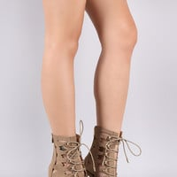 Cutout Lace-Up Stiletto Booties | UrbanOG