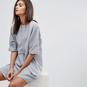 YMC Scalloped Edged Cotton Shift Dress at asos.com