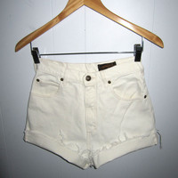 """Vintage 90s White High Waisted Cut Off Denim Shorts Mom Jean Cotton Cuffed 25"""""""