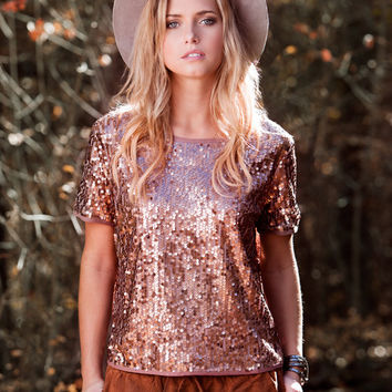 Copper Sequin Top