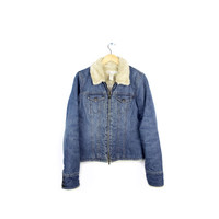 abercrombie fleece denim jacket / zip up denim jacket / womens large