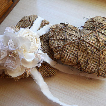 Rustic Shabby Chic Ring Bearer Heart embellished with cotton and lace flowers, burlap, grapevine, rhinestones, pearls. Made to Order.