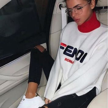 FENDI Fashionable Women Personality Embroidery Letter Long Sleeve Half High Collar Knit Sweater Top Sweatshirt White I/A