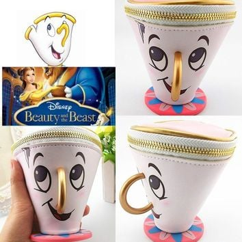 2017 Beauty and The Beast Chip Coin Women Clutch Purse 3D Cup Trinket Coin Bag Toys for Girls Gift toys Chip Cup Hand Wallet Bag