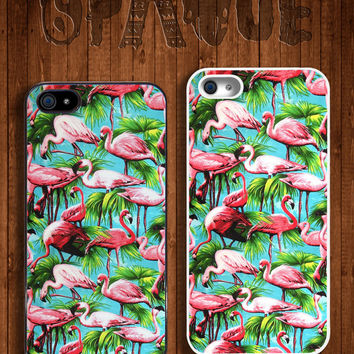 Flamingo Tropical Apple iPhone 5 5s & 4 4s Durable Hard Case -  In Multiple Colours - Hipster Indie Grunge Vintage Tropical Summer Tumblr