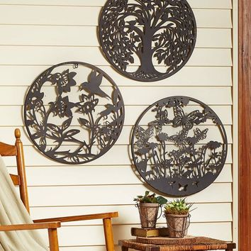 """Large Wall Medallion Round 20"""" Die Cut Rustic Finish Tree Hummingbird Butterfly"""