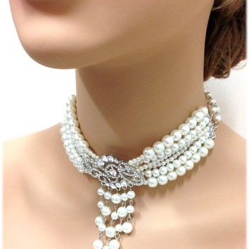 Wedding jewelry set, bridal choker, bridal necklace, bridal jewelry, crystal jewelry, pearl jewelry, Victorian necklace, Ballroom necklace