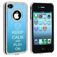 Apple iPhone 4 4S 4G Light Blue S471 Rhinestone Crystal Bling Aluminum Plated Hard Case Cover Keep Calm and Play On Volleyball